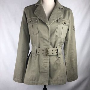 DKNY Jeans Military Jacket Belted Zip Sleeves SM